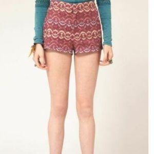 2 XS Tribal Print Shorts High Waisted Purple